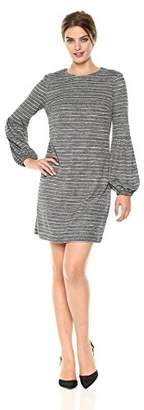 London Times Women's Long Sleeve Round Neck Shift Dress