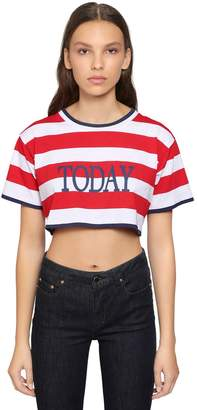 Alberta Ferretti Today Printed Jersey Cropped T-Shirt