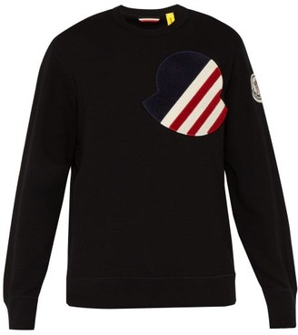 Moncler 2 1952 - Logo Applique Cotton Sweatshirt - Mens - Black