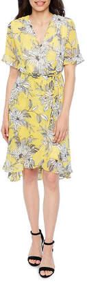 Studio 1 Short Sleeve Floral A-Line Dress-Petite