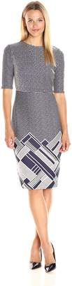 Gabby Skye Women's Elbow Sleeve Round Neck Midi Sweater Sheath Dress