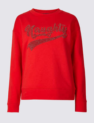 Marks and Spencer Cotton Sparkly Slogan Christmas Sweatshirt