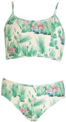 boohoo Girls Cactus Print Crop Tankini Set