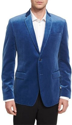 Versace Collection Velvet Two-Button Jacket, Blue $895 thestylecure.com
