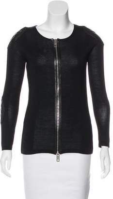 Burberry Leather-Trimmed Zip-Up Cardigan