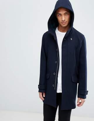 Farah Oxton hooded wool coat in navy