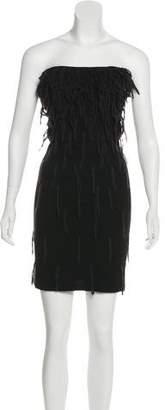 Maison Margiela Fringe Strapless Mini Dress