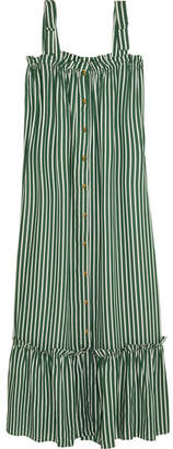 Adriana Degreas - Striped Crepe De Chine Maxi Dress - Emerald