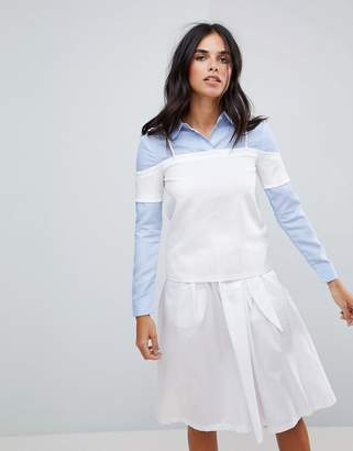 ENGLISH FACTORY The Shirt With Cold Shoulder Layered Top