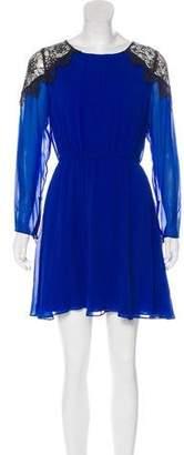 Alice + Olivia Silk Lace-Trimmed Mini Dress