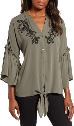 Wit & Wisdom Embellished Tie Front Blouse