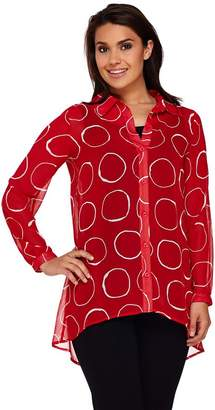 Susan Graver Printed Sheer Chiffon Button Front Shirt