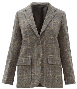 Margaret Howell Single Breasted Windowpane Check Wool Jacket - Womens - Grey Multi