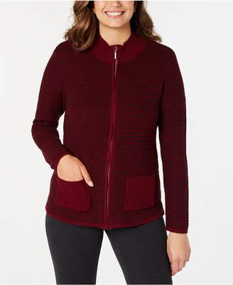 Karen Scott Textured Zip-Front Cardigan