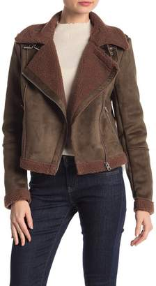 Coffee Shop Faux Suede Belted Collar Faux Shearling Lined Coat