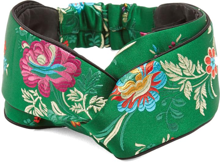GucciGUCCI Floral-embroidered satin headband