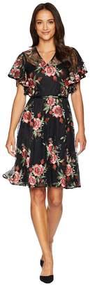 Calvin Klein Belted Flutter Sleeve Lace Dress CD8L15QF Women's Dress