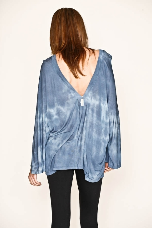 Gypsy 05 Silk Jersey V-Neck in Blue