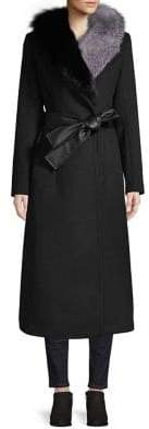1 Madison Fox Fur-Trim Long Wrap Coat