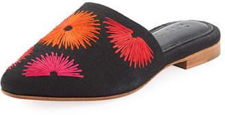 ZYNE Bloom Embroidered Linen Mule Slide