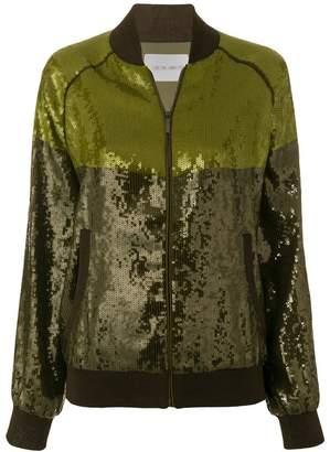 Alberta Ferretti colour block sequin embellished jacket