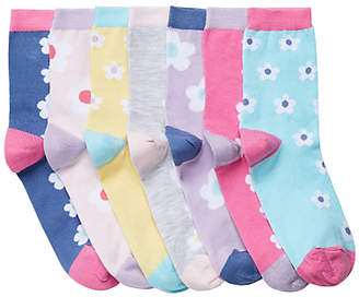 John Lewis Girls' Bright Floral Print Socks, Pack of 7, Multi