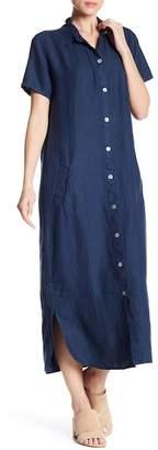 Allen Allen Short Sleeve Solid Linen Dress