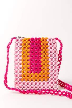 francesca's Multi Color Beaded Crossbody - Pink