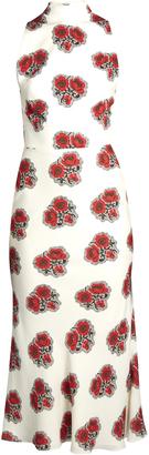 ALEXANDER MCQUEEN Poppy-print ruffled-back high-neck crepe dress $2,305 thestylecure.com