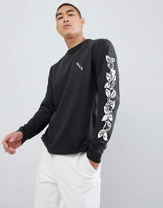Obey Olde Rose Long Sleeve T-Shirt In Dusty Black