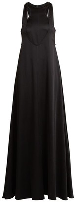 Valentino Double Layered Hammered Satin Gown - Womens - Black