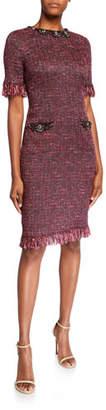 Rickie Freeman For Teri Jon Stretch Tweed Short-Sleeve Dress with Jewel Trim