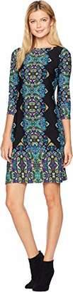 London Times Women's 3/4 Sleeve Matte Jersey Shift Dress