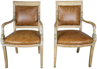 One Kings Lane Vintage Pair of Dolphin Leather Armchairs