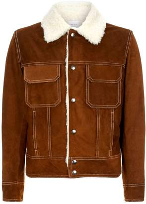 Sandro Shearling Collar Suede Jacket