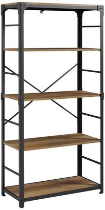 Walker Edison 64 Rustic 4-Shelf Angle Iron Wood and Metal Bookshelf