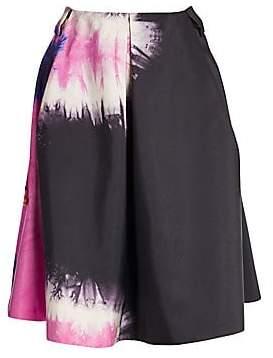 Prada Women's Silk Failie Tie Dye Front Pleat A-Line SKirt