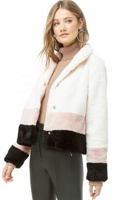 Forever 21 Colorblock Faux Fur Jacket
