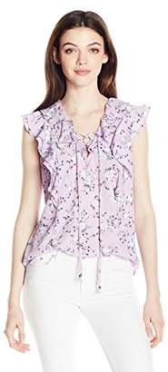 My Michelle Junior's High Low Printed Top with Ruffle Sleeves