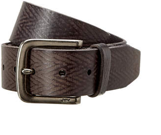 John Varvatos Herringbone Leather Belt