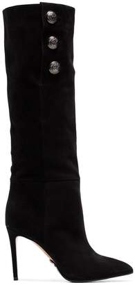 Balmain black Jane 95 buttoned suede knee-high boots