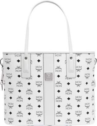 MCM Reversible Liz Shopper Visetos Without Pouch Medium White