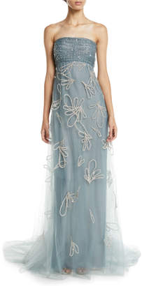 Oscar de la Renta Strapless Sequin-Embroidered Tulle Evening Gown w/ Donut