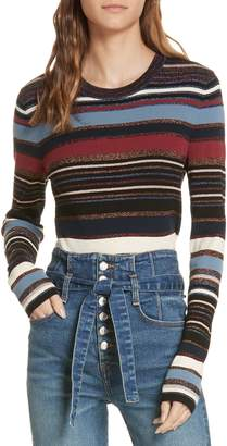 Veronica Beard Palmas Metallic Stripe Sweater