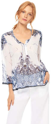 Ecru Silk Print Top