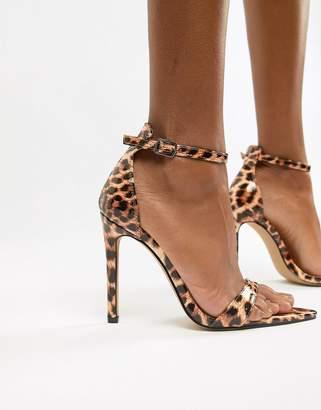 Public Desire Ace leopard patent heeled sandals