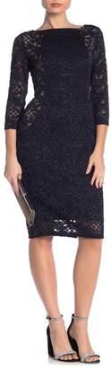 Marina Sparkly Lace Midi Sheath Dress