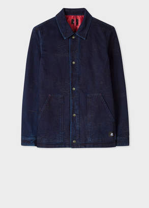 Paul Smith Men's Indigo Denim Red Ear Work Jacket With Jacquard Details