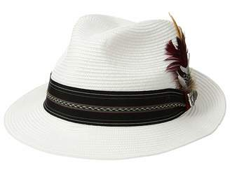 Stacy Adams Poly Braid Pinch Front Fedora with Fancy Band