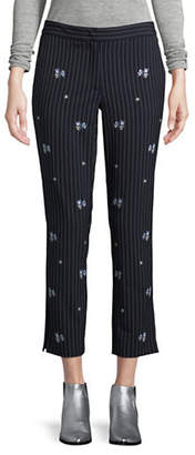 Marella Embroidered Pinstriped Trousers